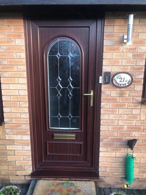 old rosewood upvc door